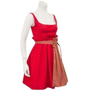 Prada  Red Taffeta Cocktail Dress With Apron